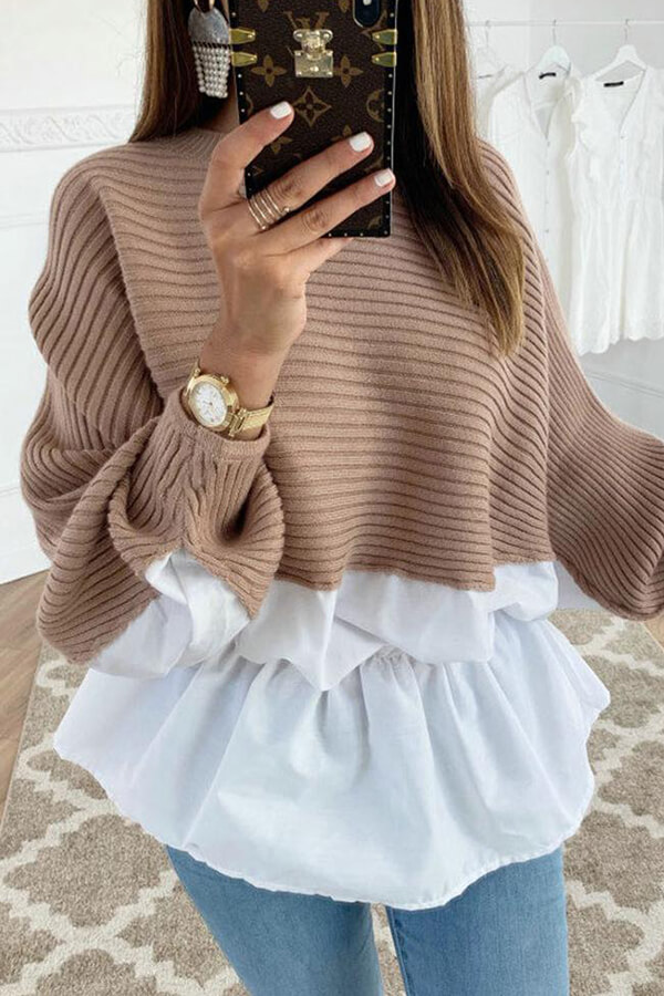 Lovely Work Patchwork Coffee Blouse