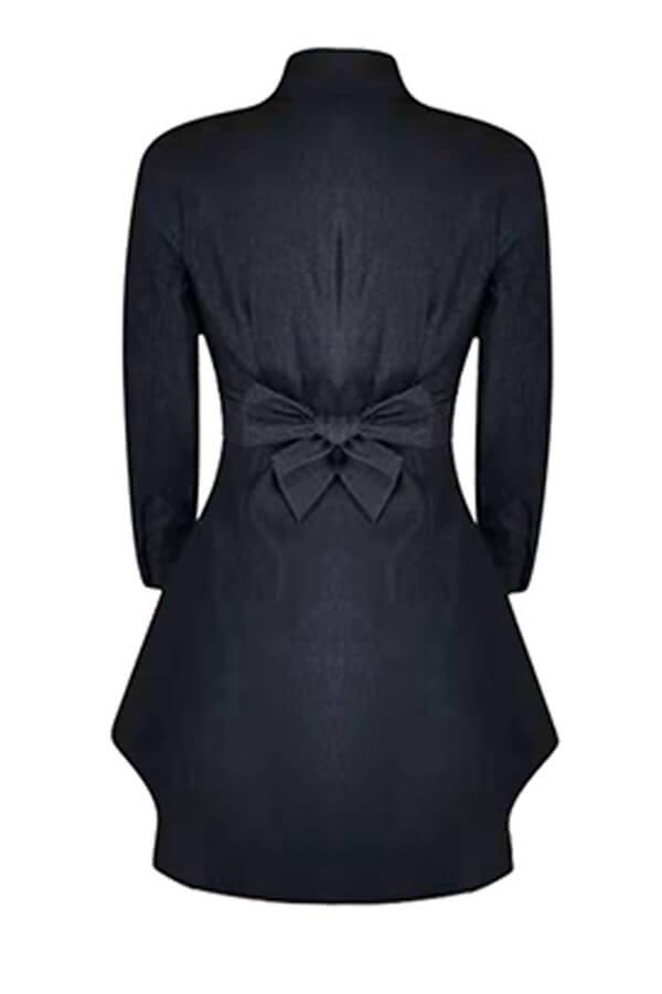 Lovely Casual Bow-Tie Black Mini Dress