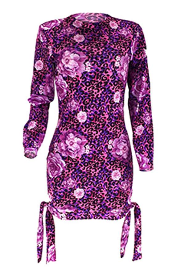 Lovely Trendy Half A Turtleneck Printed Purple Mini Dress