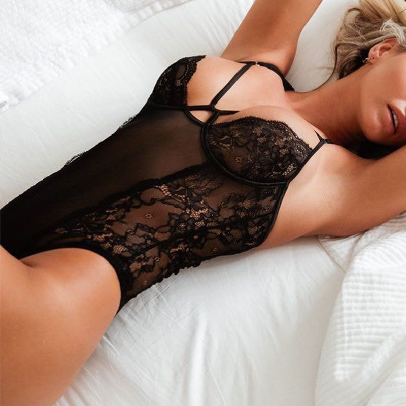Lovely Sexy Hollow-out Black Teddies