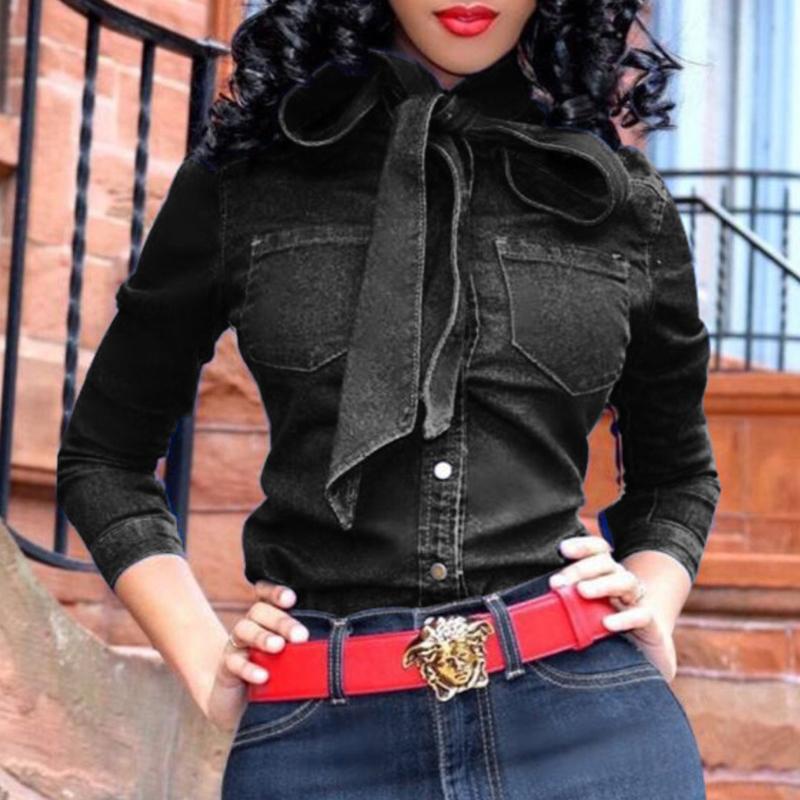 Lovely Trendy Lace-up Black Blouse