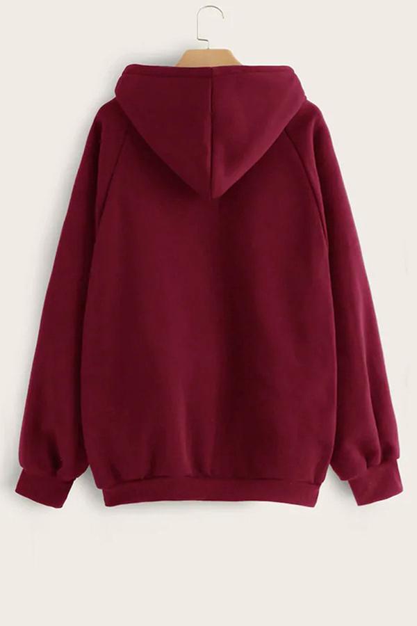 Lovely Casual Letter Printed Wine Red Sweatshirt Hoodie