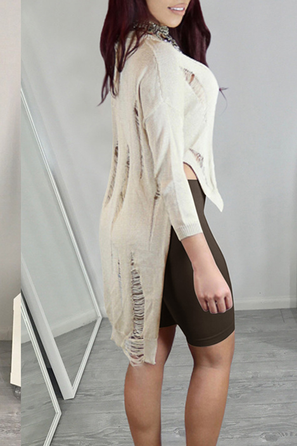 Lovely Casual Broken Holes Creamy White Sweater