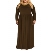 Lovely Casual O Neck Loose Coffee Floor Length Plu