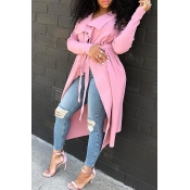 Lovely Casual Lace-up Light Pink Trench Coat