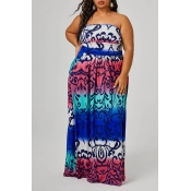 Lovely Casual Off The Shoulder Multicolor Floor Le