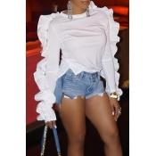Lovely Work Flounce Design White Blouse