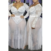 Lovely Sexy See-through White Plus Size Two-piece Skirt Set