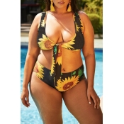 Lovely Floral Printed Black Plus Size Two-piece Sw