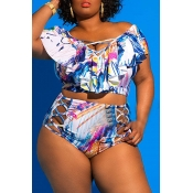 Lovely Printed Hollow-out White Plus Size Two-piec
