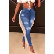 Lovely Trendy Tassel Design Skyblue Jeans
