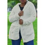 Lovely Euramerican Long Sleeves White Velvet Cardi