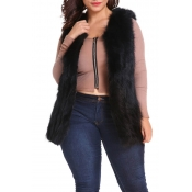 Lovely Casual Winter Black Plus Size Vests