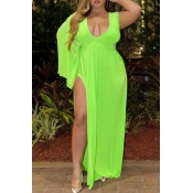 Lovely Stylish Side High Slit Green Maxi Plus Size