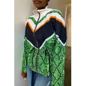 Lovely Casual Color-lump Patchwork Green Coat