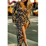 Lovely Casual Leopard Printed Coffee Floor Length