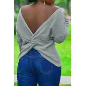 Lovely Trendy Backless Cross-over Design Grey Swea