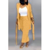 Lovely Casual Lace-up Yellow Two-piece Pants Set(W