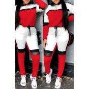 Lovely Sportswear Hooded Collar Patchwork Red Two-