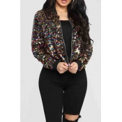 Lovely Casual Sequined Multicolor Coat