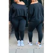 Lovely Casual O Neck Asymmetrical Black Plus Size
