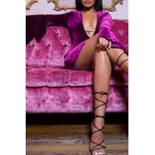 Lovely Sexy Flounce Design Purple Mini Dress
