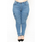 Lovely Casual Pocket Patched Baby Blue Plus Size J