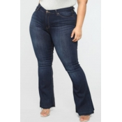 Lovely Casual Skinny Blue Plus Size Jeans
