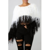 Lovely Sweet Tassel Design Black And White Sweater