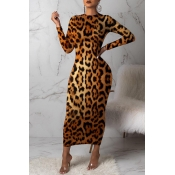 Lovely Casual Leopard Printed Brown Ankle Length D