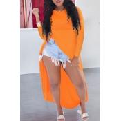 Lovely Casual Asymmetrical Orange Blouse