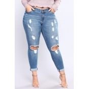 Lovely Casual Hollow-out Skinny Blue Plus Size Jea