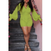 Lovely Casual Pocket Patched Green One-piece Rompe