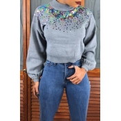 Lovely Trendy Turtleneck Sequined Decorative Grey