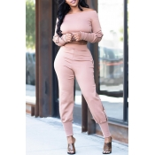 Lovely Casual Skinny Light Pink Two-piece Pants Set