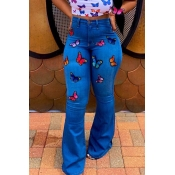 Lovely Trendy Embroidered Design Blue Jeans