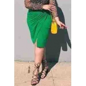 Lovely Casual Slit Green Plus Size Skirt