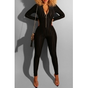 Lovely Casual Zipper Striped Black One-piece Jumps