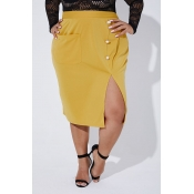 Lovely Casual Slit Yellow Plus Size Skirt