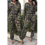 Lovely Street Hooded Collar Camouflage Printed Two