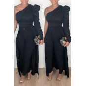 Lovely Work One Shoulder Black Blouse