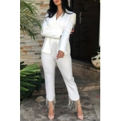 Lovely Work Deep V Neck White Two-piece Pants Set