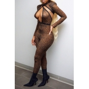 Lovely Sexy Hollow-out Leopard Printed One-piece J