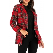Lovely Casual Grid Printed Red Blazer