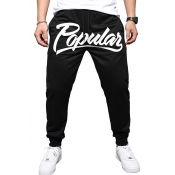 Lovely Casual Letter Printed Black Pants