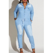 Lovely Casual Turndown Collar Blue Plus Size One-p
