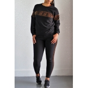 Lovely Casual Leopard Printed Black Two-piece Pant