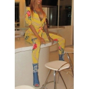 Lovely Casual Floral Printed Yellow One-piece Jump