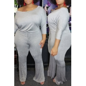 Lovely Trendy One Shoulder Grey Plus Size One-piece Jumpsuit