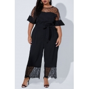 Lovely Casual Lace Patchwork Black Plus Size One-p